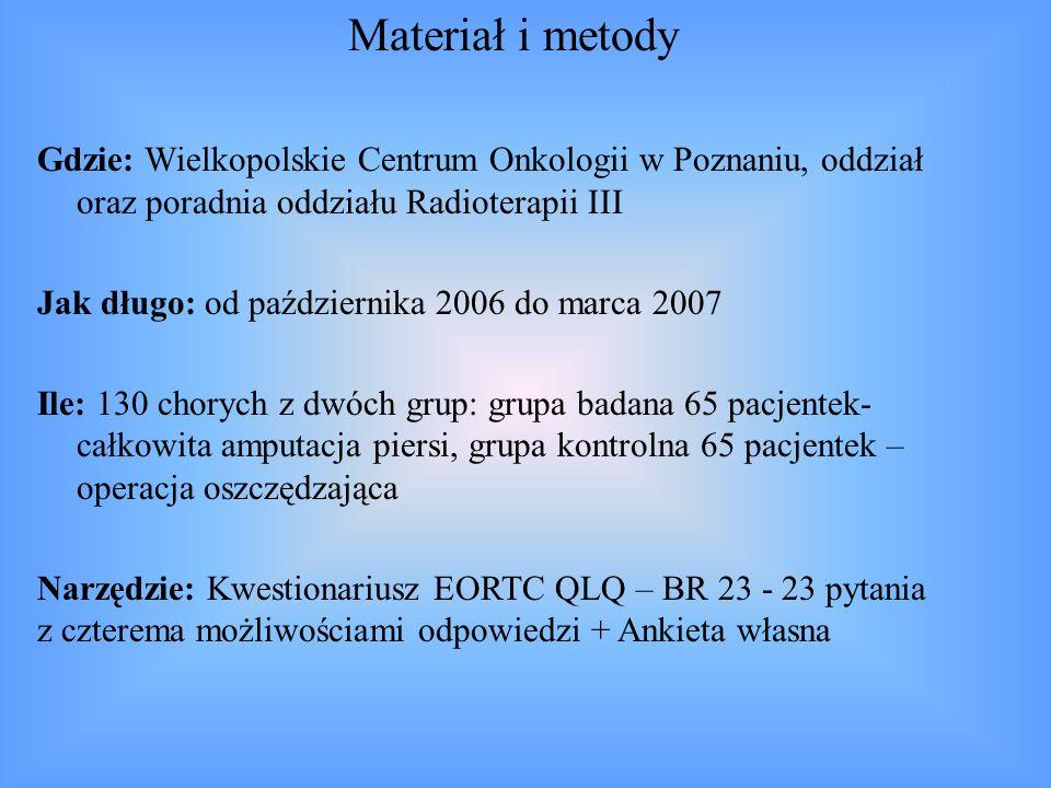 Materiał i metody Gdzie: Wielkopolskie Centrum Onkologii w Poznaniu, oddział oraz poradnia oddziału Radioterapii III.