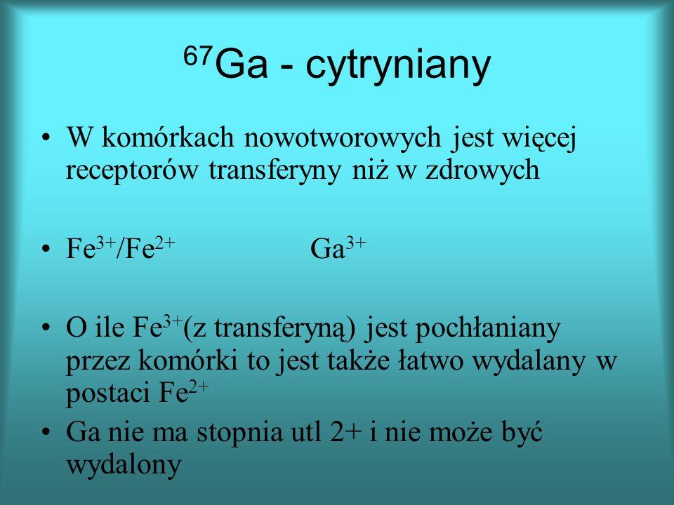 67Ga - cytryniany W komórkach nowotworowych jest więcej receptorów transferyny niż w zdrowych. Fe3+/Fe2+ Ga3+