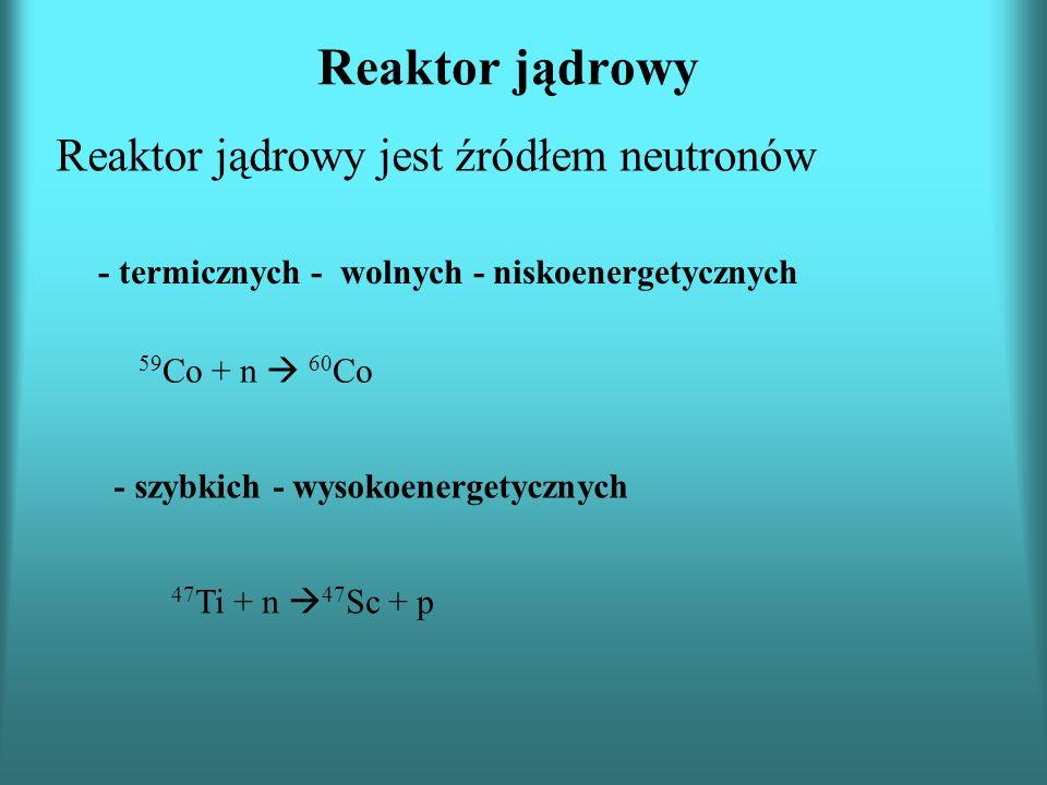 Reaktor jądrowy Reaktor jądrowy jest źródłem neutronów