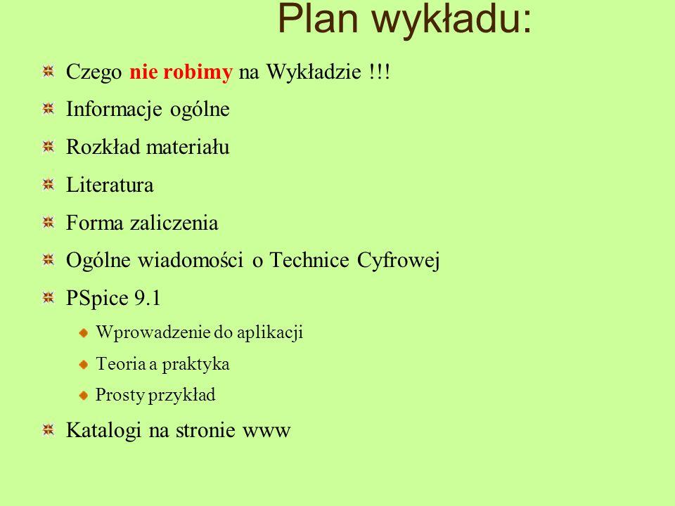 Plan wykładu: Czego nie robimy na Wykładzie !!! Informacje ogólne