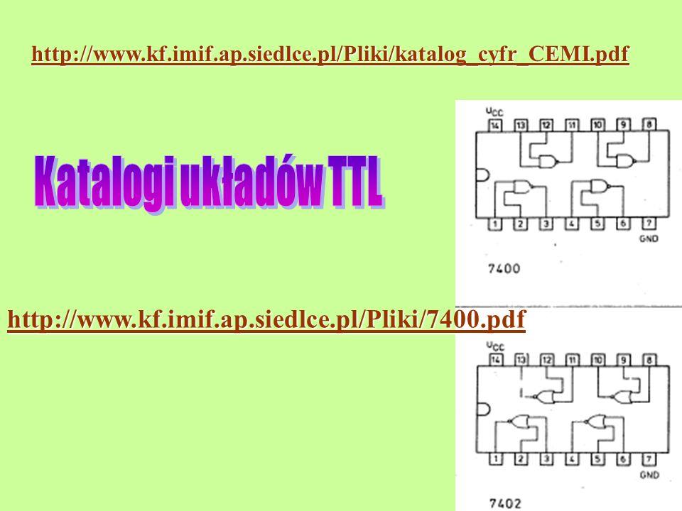 Katalogi układów TTL http://www.kf.imif.ap.siedlce.pl/Pliki/7400.pdf