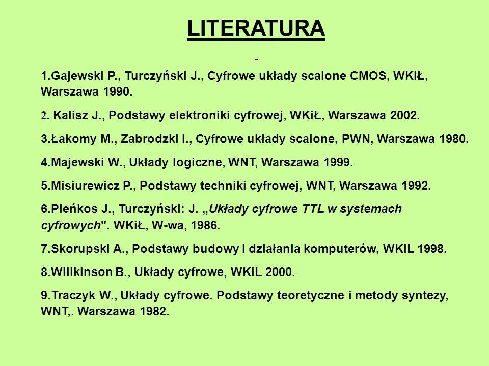 LITERATURA Gajewski P., Turczyński J., Cyfrowe układy scalone CMOS, WKiŁ, Warszawa 1990.