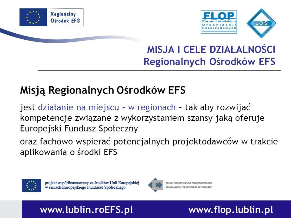 MISJA I CELE DZIAŁALNOŚCI Regionalnych Ośrodków EFS