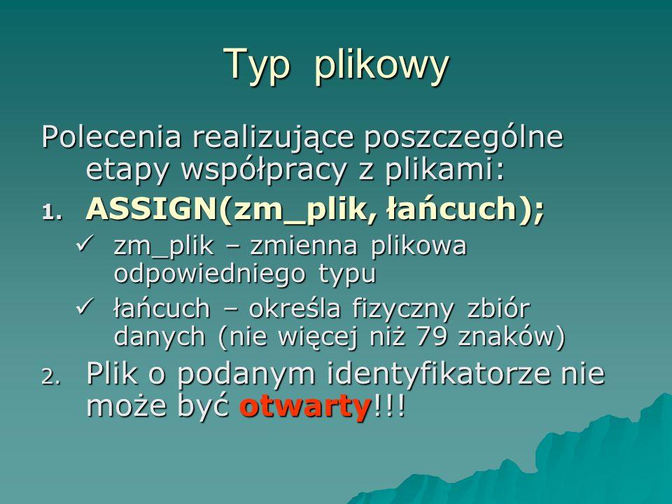 Typ plikowy Polecenia realizujące poszczególne etapy współpracy z plikami: ASSIGN(zm_plik, łańcuch);