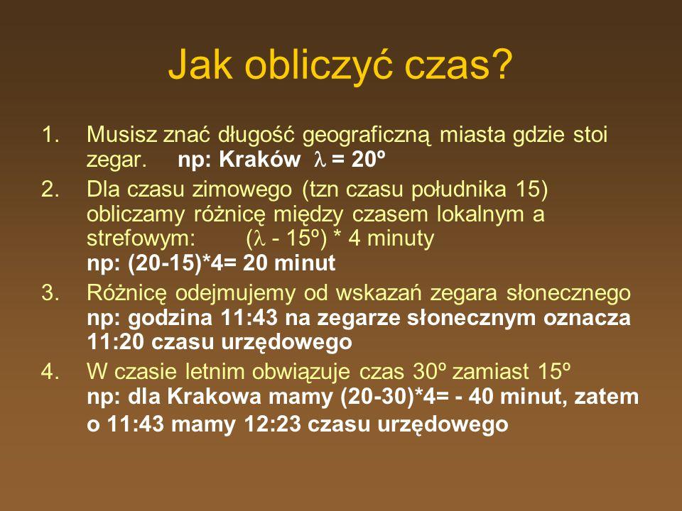 Jak obliczyć czas Musisz znać długość geograficzną miasta gdzie stoi zegar. np: Kraków  = 20º.