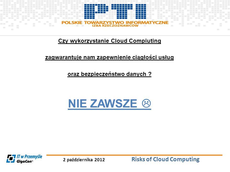 NIE ZAWSZE  Czy wykorzystanie Cloud Compiuting