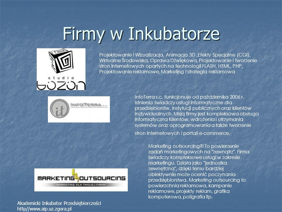 Firmy w Inkubatorze