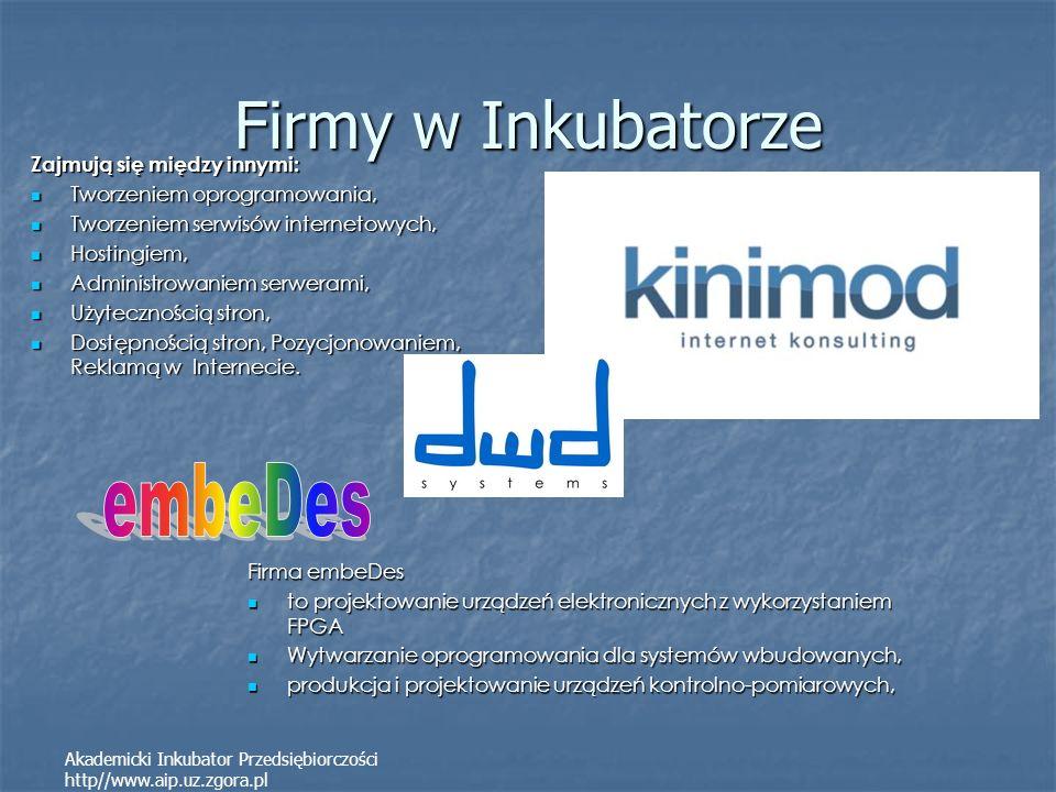 Firmy w Inkubatorze embeDes Zajmują się między innymi: