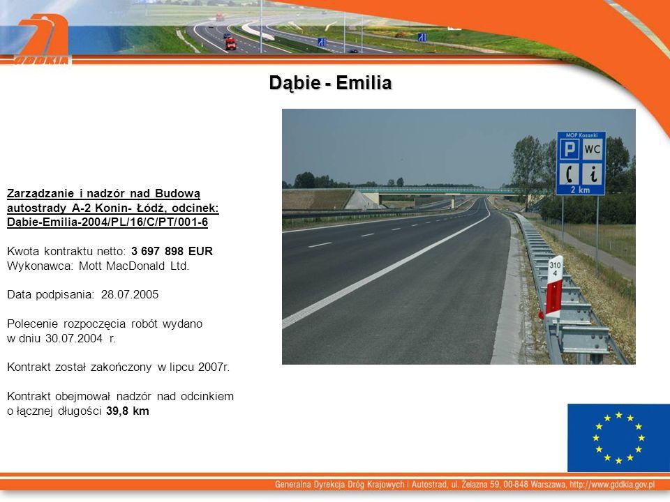 Dąbie - Emilia Zarządzanie i nadzór nad Budową autostrady A-2 Konin- Łódź, odcinek: Dąbie-Emilia-2004/PL/16/C/PT/001-6.