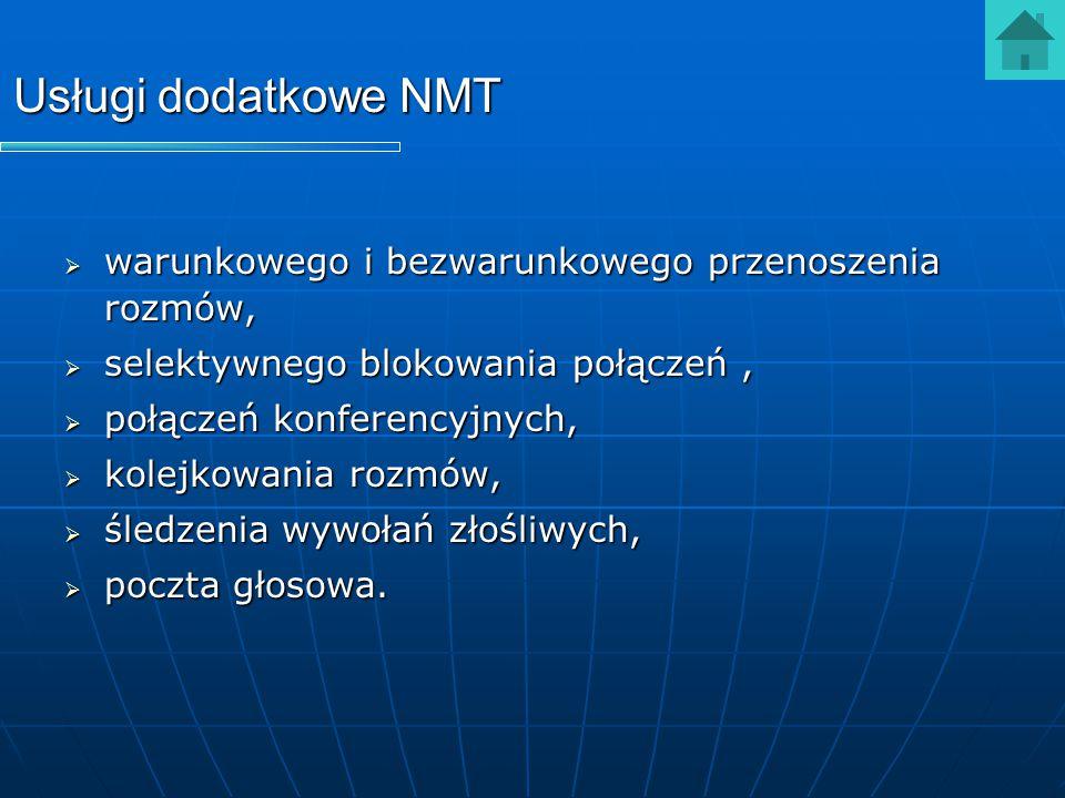 Usługi dodatkowe NMT warunkowego i bezwarunkowego przenoszenia rozmów,