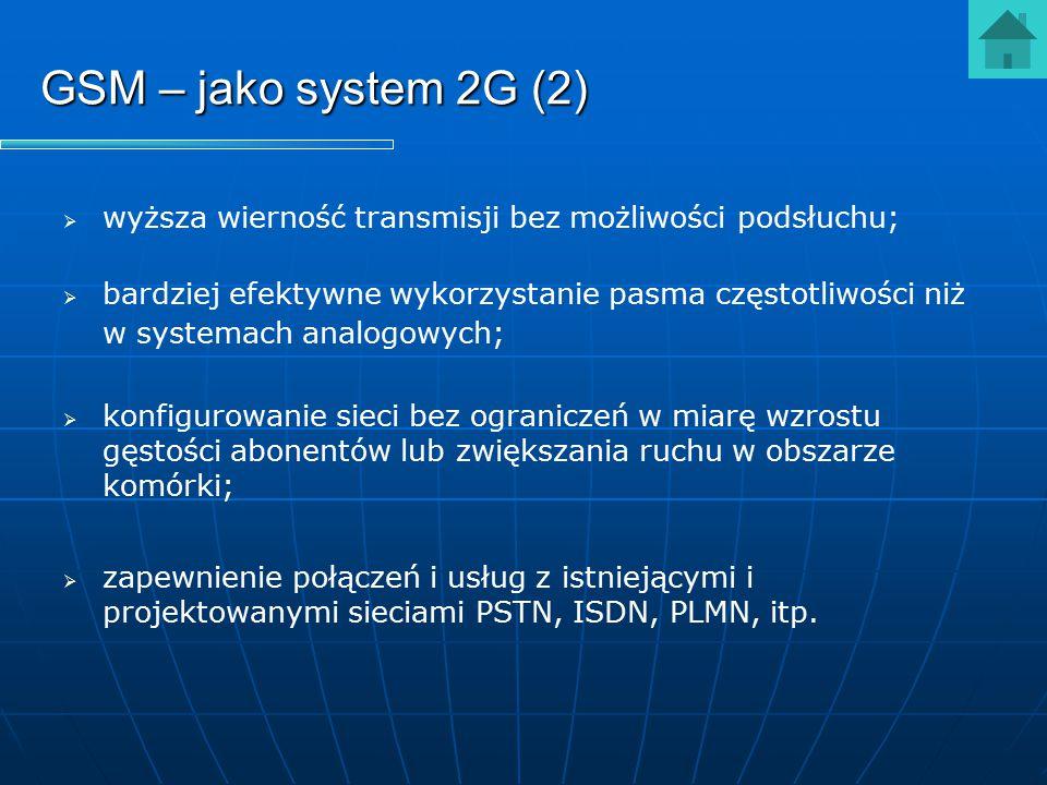 GSM – jako system 2G (2) wyższa wierność transmisji bez możliwości podsłuchu;
