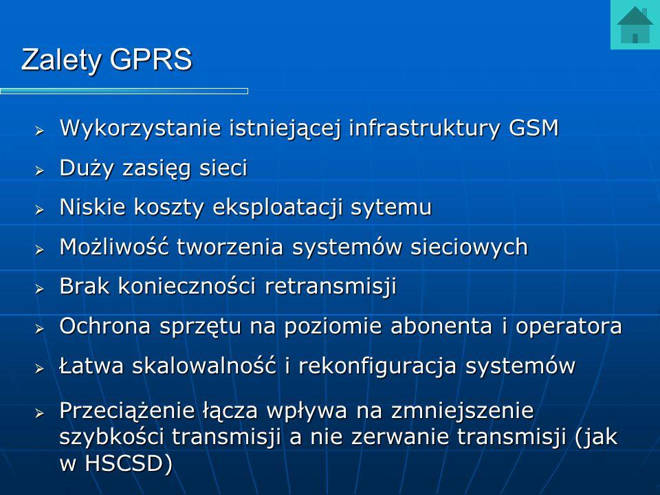 Zalety GPRS Wykorzystanie istniejącej infrastruktury GSM