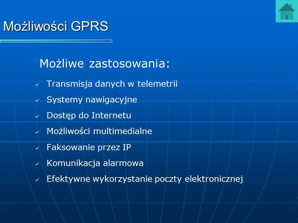 Możliwości GPRS Możliwe zastosowania: Transmisja danych w telemetrii