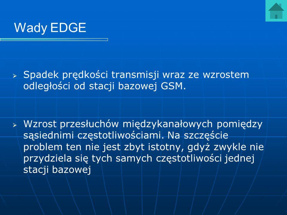 Wady EDGE Spadek prędkości transmisji wraz ze wzrostem odległości od stacji bazowej GSM.