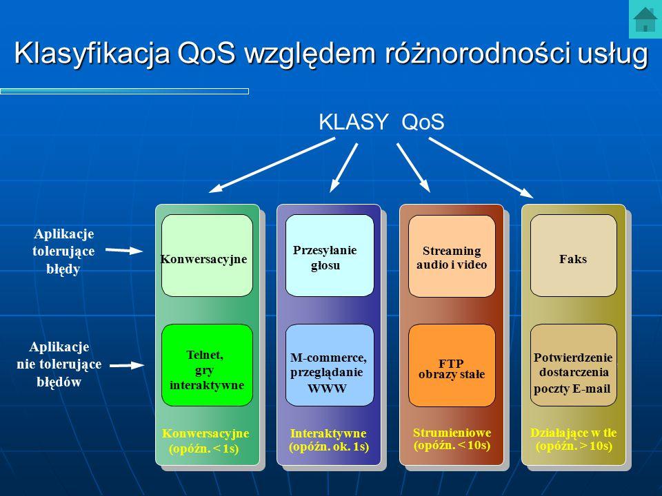 Klasyfikacja QoS względem różnorodności usług