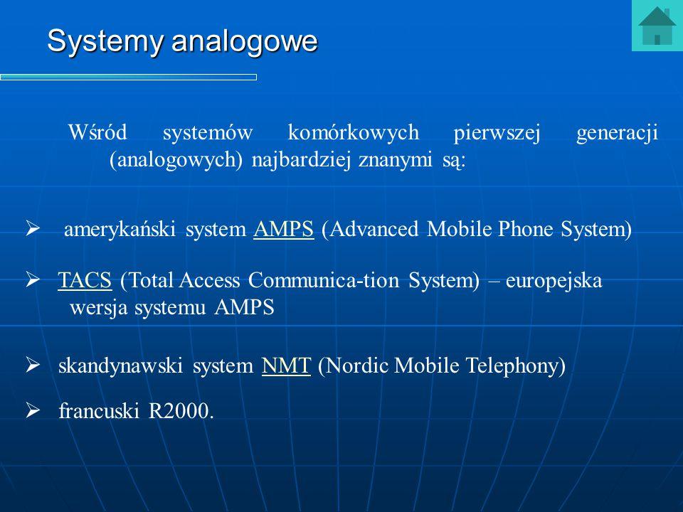 Systemy analogowe Wśród systemów komórkowych pierwszej generacji (analogowych) najbardziej znanymi są: