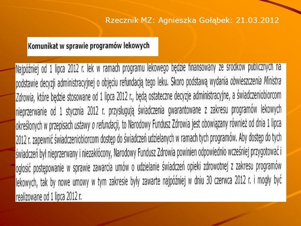 Rzecznik MZ: Agnieszka Gołąbek: 21.03.2012
