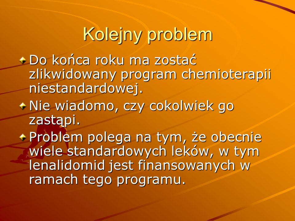 Kolejny problem Do końca roku ma zostać zlikwidowany program chemioterapii niestandardowej. Nie wiadomo, czy cokolwiek go zastąpi.