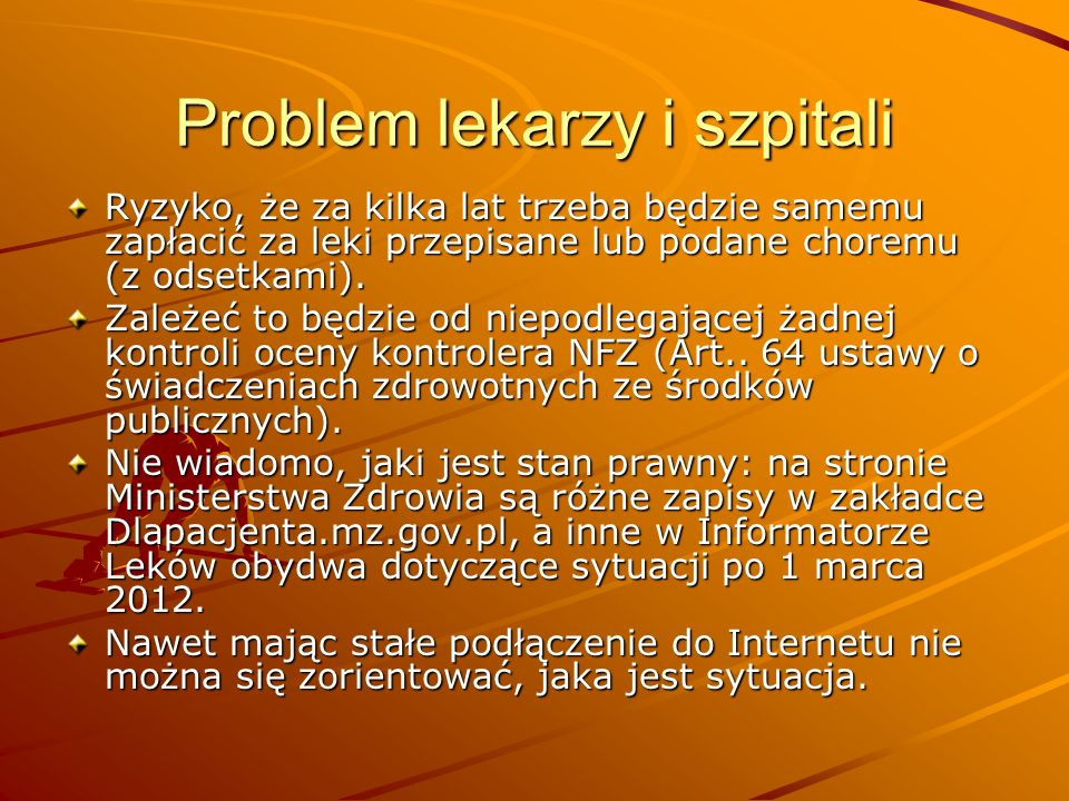 Problem lekarzy i szpitali