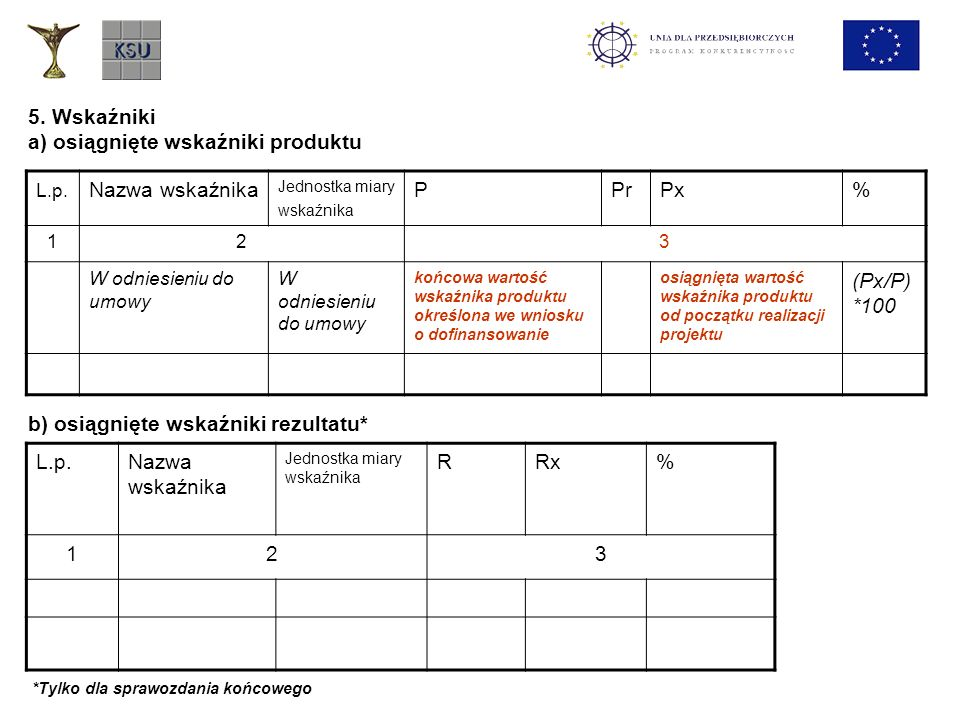 a) osiągnięte wskaźniki produktu