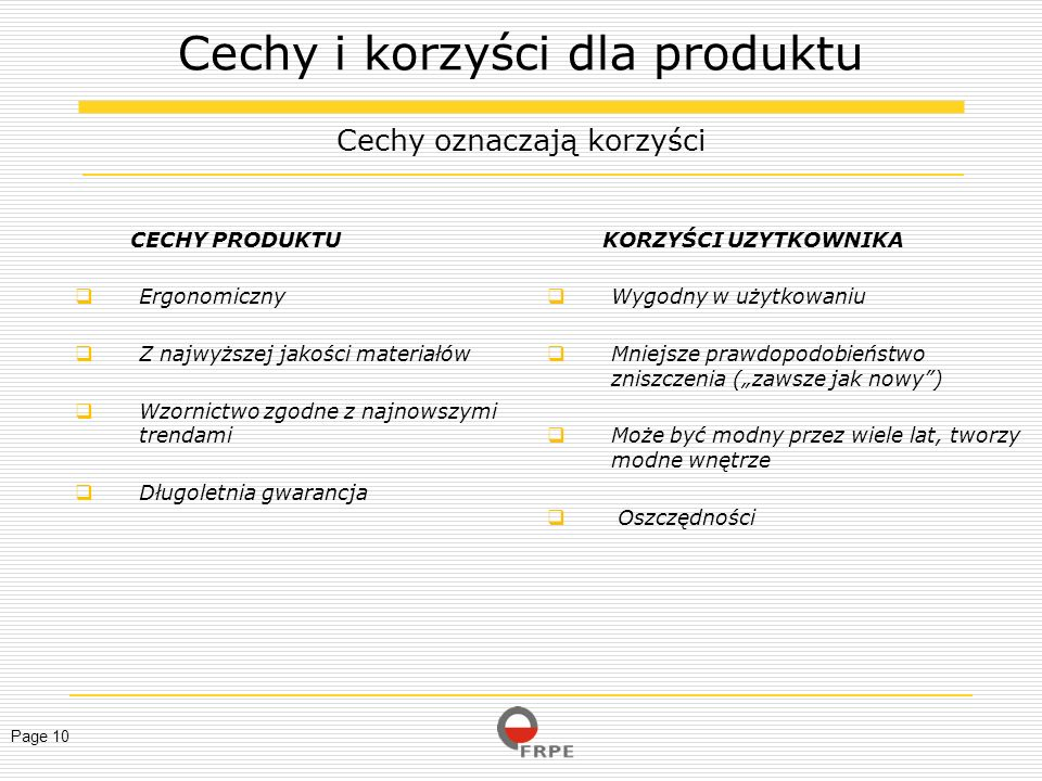Cechy i korzyści dla produktu