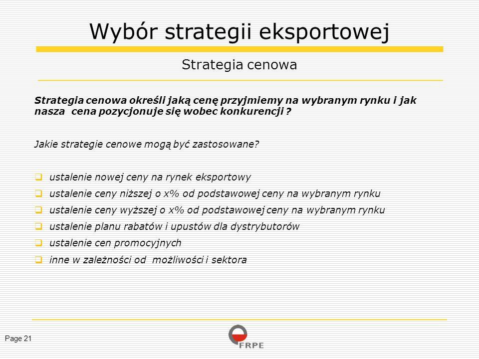 Wybór strategii eksportowej