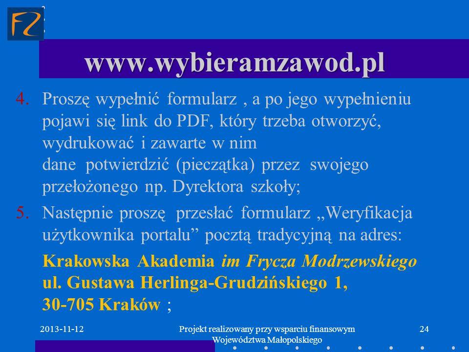 Projekt realizowany przy wsparciu finansowym Województwa Małopolskiego