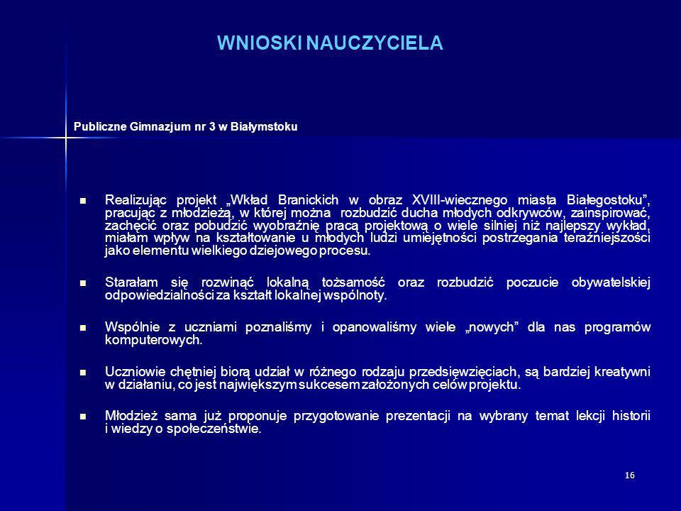 WNIOSKI NAUCZYCIELA Publiczne Gimnazjum nr 3 w Białymstoku.