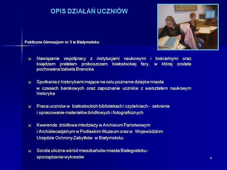 OPIS DZIAŁAŃ UCZNIÓW Publiczne Gimnazjum nr 3 w Białymstoku.