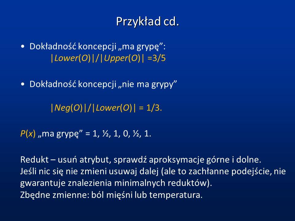 """Przykład cd.Dokładność koncepcji """"ma grypę :  Lower(O) / Upper(O)  =3/5. Dokładność koncepcji """"nie ma grypy  Neg(O) / Lower(O)  = 1/3."""