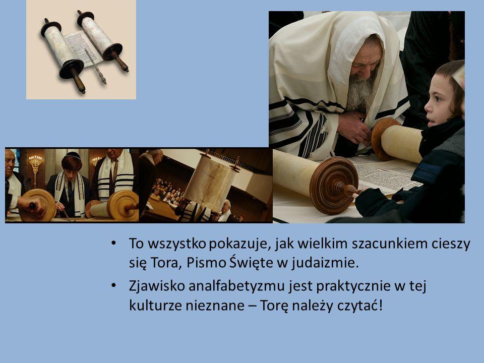 To wszystko pokazuje, jak wielkim szacunkiem cieszy się Tora, Pismo Święte w judaizmie.