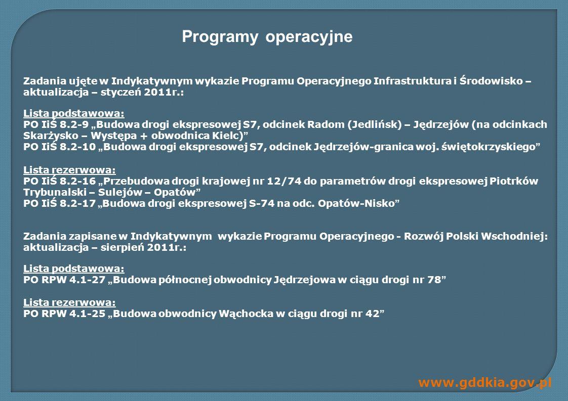 Programy operacyjne Zadania ujęte w Indykatywnym wykazie Programu Operacyjnego Infrastruktura i Środowisko – aktualizacja – styczeń 2011r.: