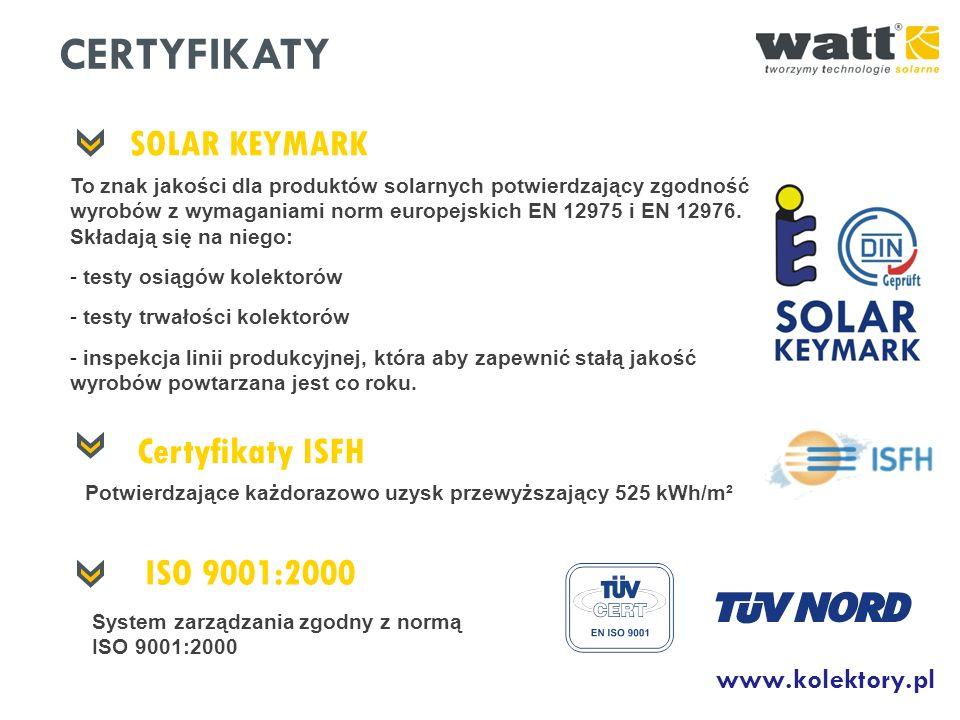 CERTYFIKATY SOLAR KEYMARK Certyfikaty ISFH ISO 9001:2000