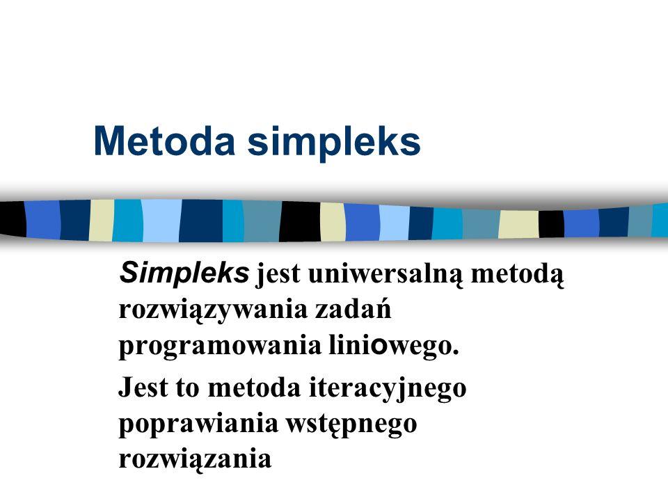 Metoda simpleksSimpleks jest uniwersalną metodą rozwiązywania zadań programowania liniowego.