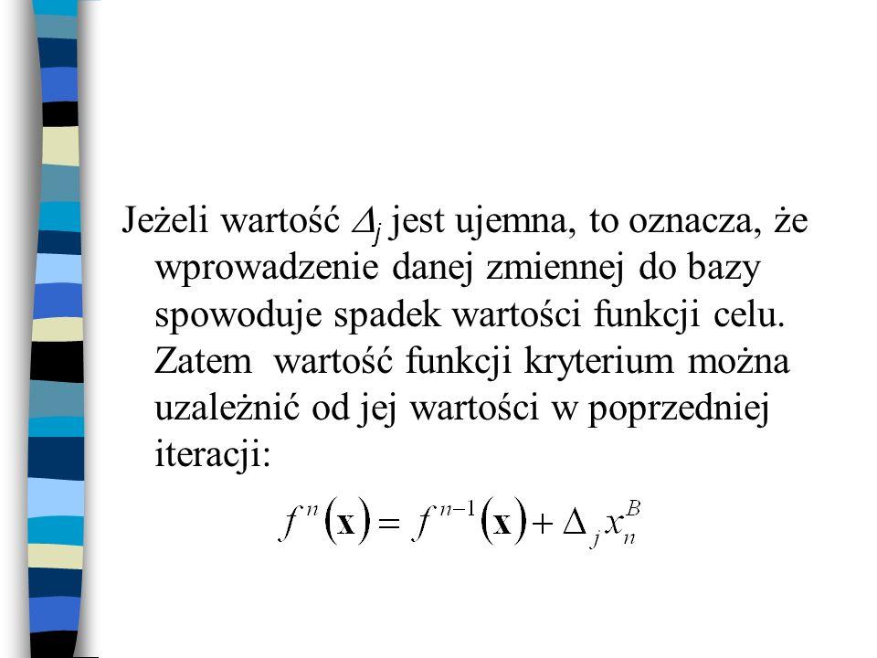 Jeżeli wartość j jest ujemna, to oznacza, że wprowadzenie danej zmiennej do bazy spowoduje spadek wartości funkcji celu.