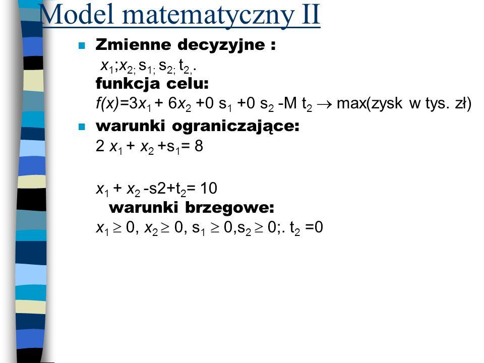 Model matematyczny II Zmienne decyzyjne : x1;x2; s1; s2; t2,. funkcja celu: f(x)=3x1 + 6x2 +0 s1 +0 s2 -M t2  max(zysk w tys. zł)