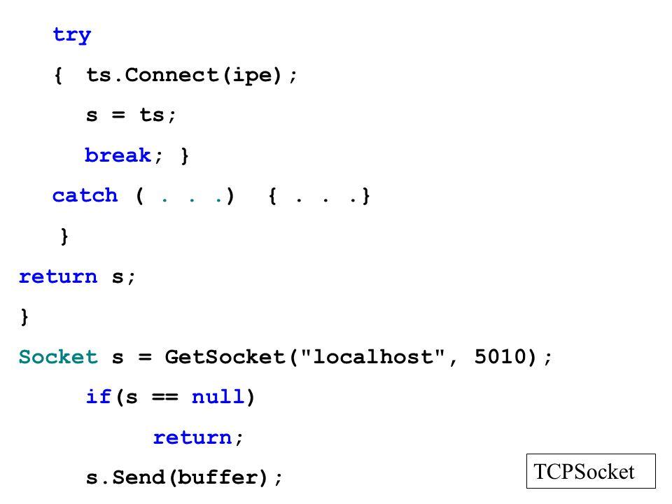 try{ ts.Connect(ipe); s = ts; break; } catch ( . . .) { . . .} } return s; Socket s = GetSocket( localhost , 5010);