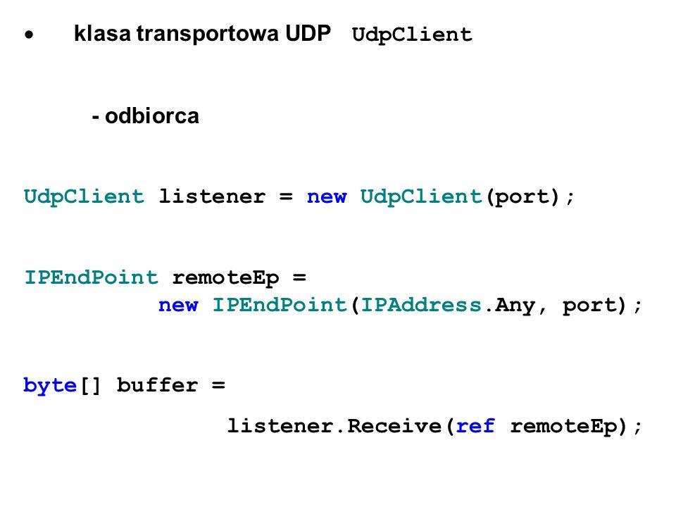 · klasa transportowa UDP UdpClient