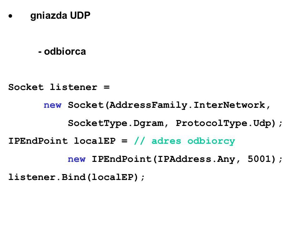 · gniazda UDP- odbiorca. Socket listener = new Socket(AddressFamily.InterNetwork, SocketType.Dgram, ProtocolType.Udp);