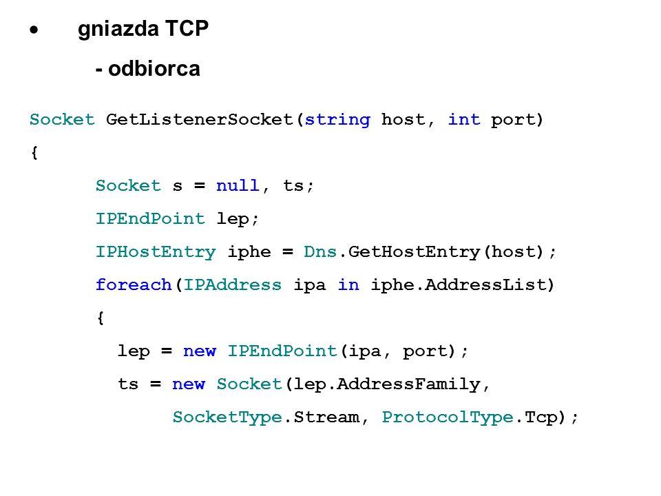 · gniazda TCP - odbiorca