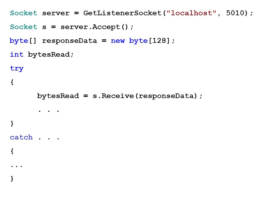 Socket server = GetListenerSocket( localhost , 5010);