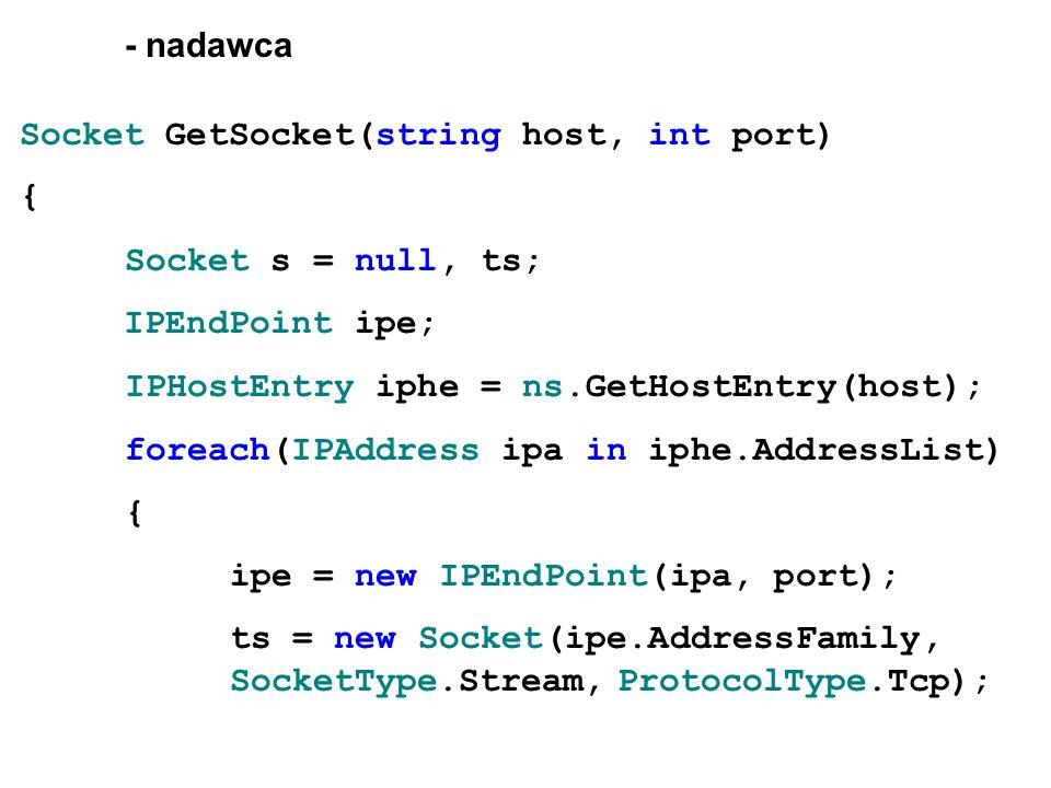 - nadawcaSocket GetSocket(string host, int port) { Socket s = null, ts; IPEndPoint ipe; IPHostEntry iphe = ns.GetHostEntry(host);