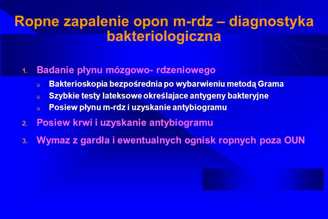 Ropne zapalenie opon m-rdz – diagnostyka bakteriologiczna