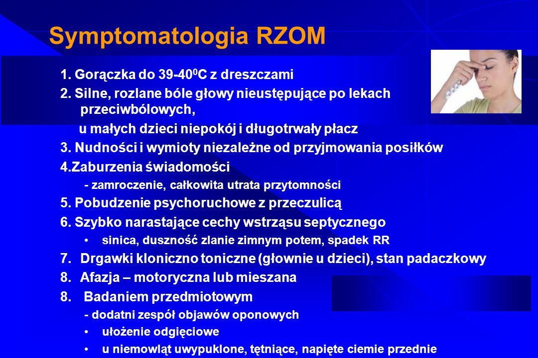 Symptomatologia RZOM 1. Gorączka do 39-400C z dreszczami