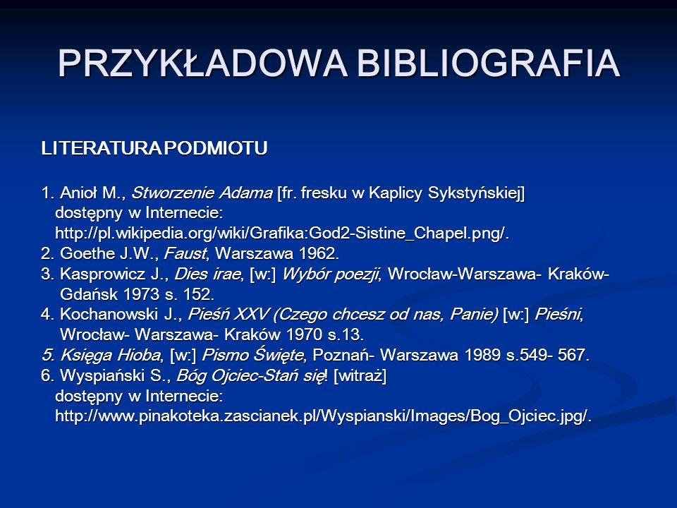 PRZYKŁADOWA BIBLIOGRAFIA