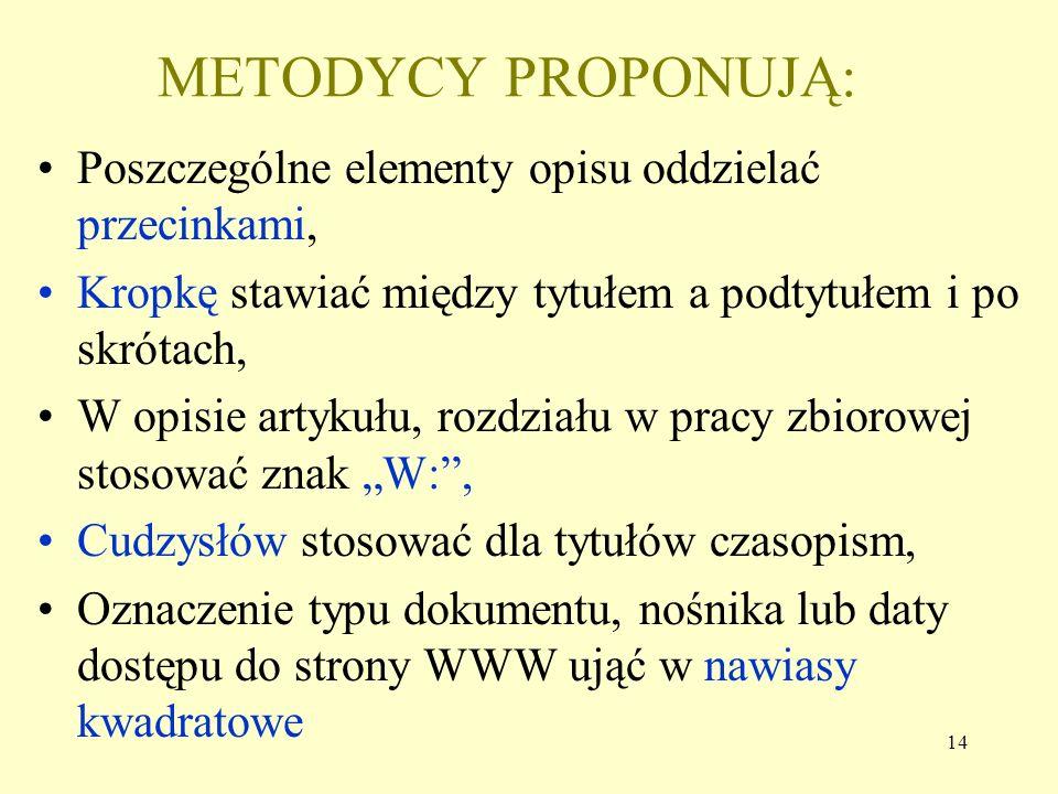 METODYCY PROPONUJĄ: Poszczególne elementy opisu oddzielać przecinkami,