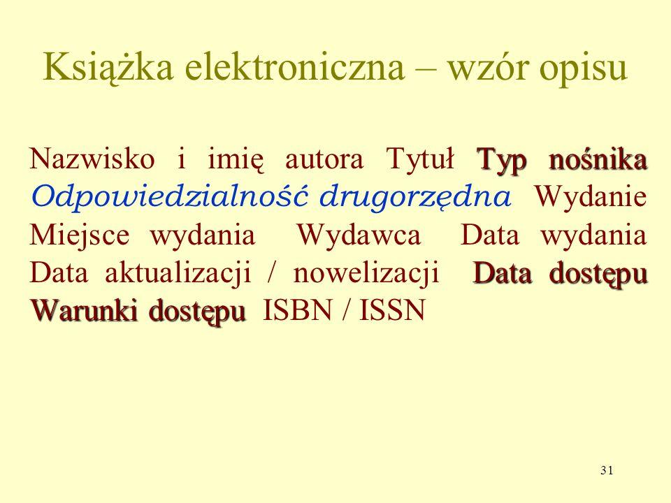 Książka elektroniczna – wzór opisu