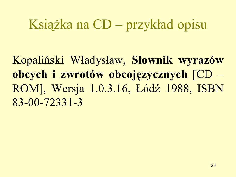 Książka na CD – przykład opisu