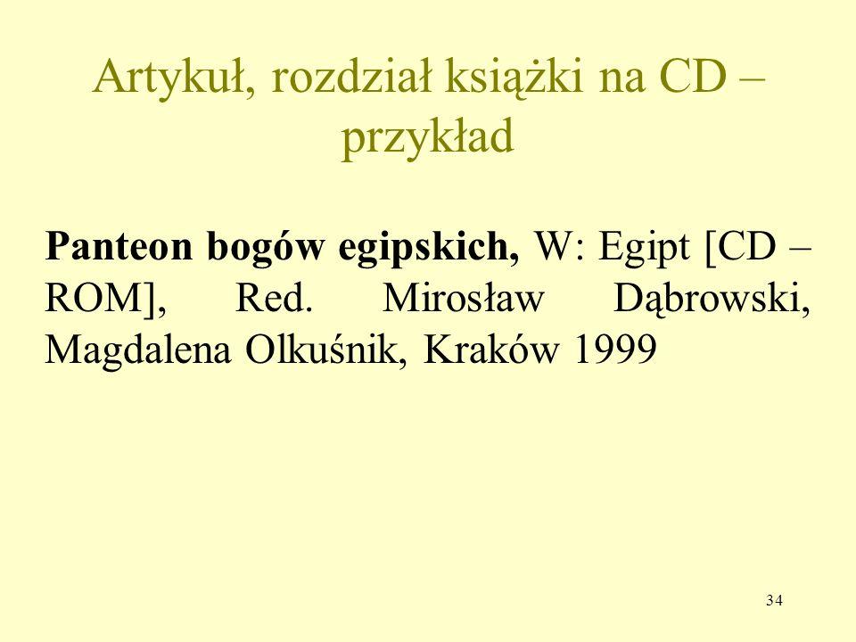 Artykuł, rozdział książki na CD – przykład