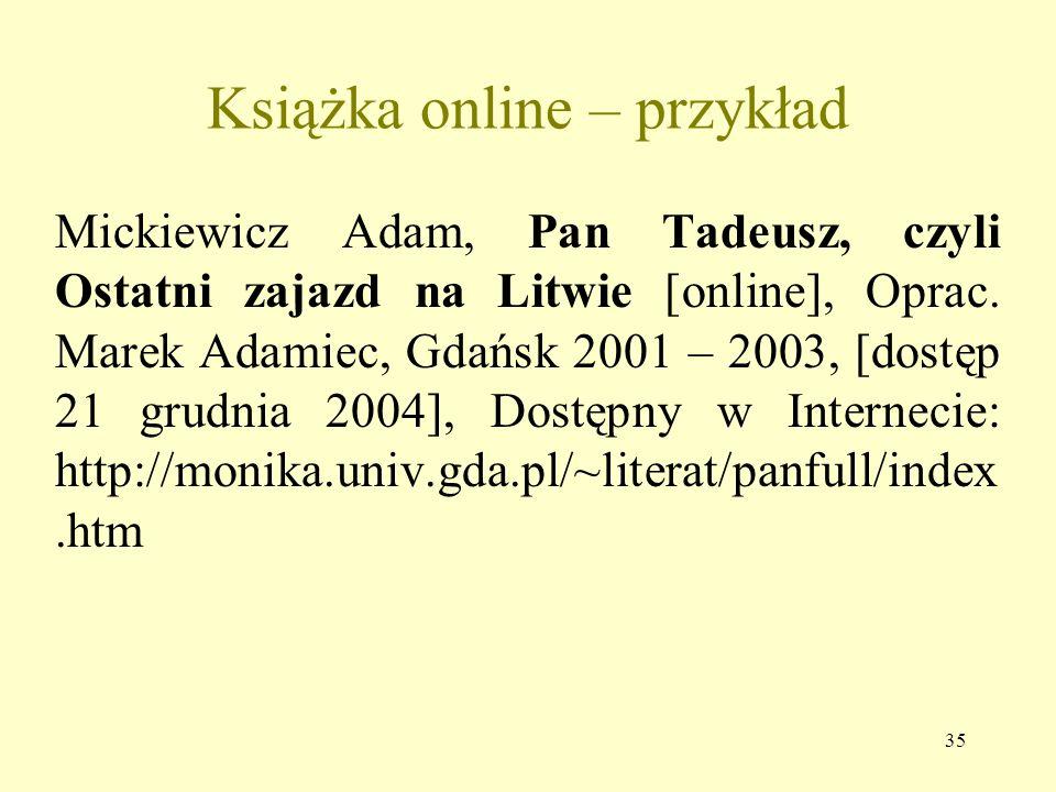Książka online – przykład